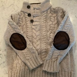 Boys Gap Cableknit Sweater with elbow patches
